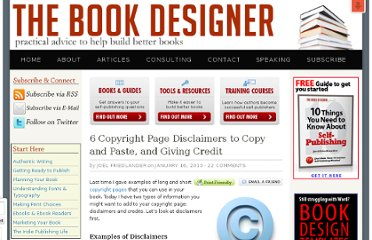 http://www.thebookdesigner.com/2010/01/6-copyright-page-disclaimers-and-giving-credit/