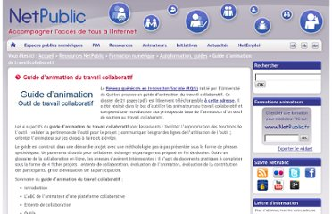 http://www.netpublic.fr/2011/11/guide-d-animation-du-travail-collaboratif/