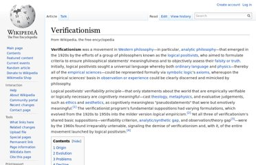 http://en.wikipedia.org/wiki/Verificationism