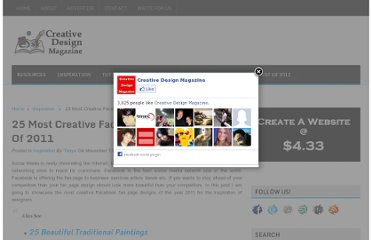 http://creativedesignmagazine.com/25-most-creative-facebook-fan-page-designs-of-2011.html