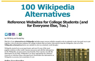 http://www.freecollegeclasses.org/wikipedia-alternatives/