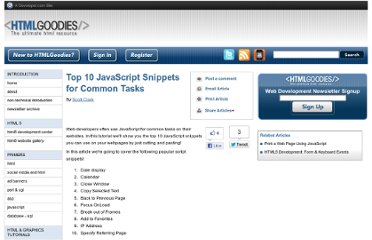http://www.htmlgoodies.com/beyond/javascript/article.php/3887346/Top-10-JavaScript-Snippets-for-Common-Tasks.htm
