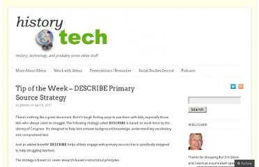 http://historytech.wordpress.com/2011/04/08/tip-of-the-week-describe-primary-source-strategy/