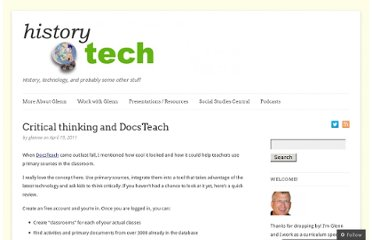 http://historytech.wordpress.com/2011/04/19/critical-thinking-and-docsteach/