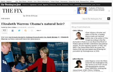 http://www.washingtonpost.com/blogs/the-fix/post/elizabeth-warren-obamas-natural-heir/2011/11/21/gIQA13ZzhN_blog.html
