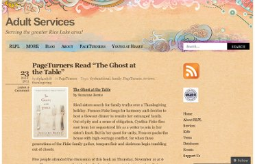 http://rlpl4adult.wordpress.com/2011/11/23/pageturners-read-the-ghost-at-the-table/