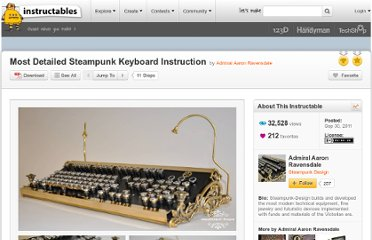 http://www.instructables.com/id/Most-Detailed-Steampunk-Keyboard-Instruction/