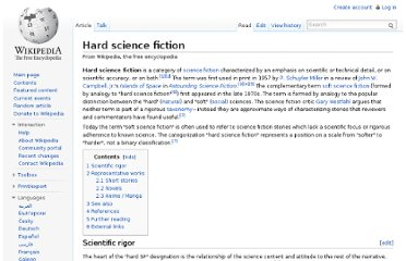 http://en.wikipedia.org/wiki/Hard_science_fiction
