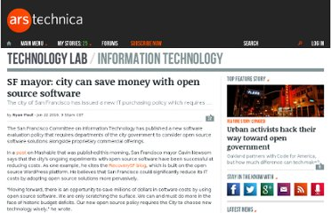 http://arstechnica.com/open-source/news/2010/01/sf-mayor-city-can-save-money-with-open-source-software.ars