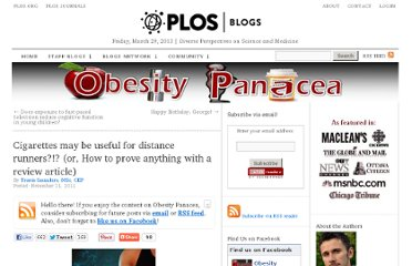 http://blogs.plos.org/obesitypanacea/2011/11/21/cigarettes-may-be-useful-for-distance-runners-or-how-to-prove-anything-with-a-review-article/#.TsqMgQp8-UI.twitter