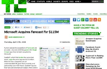 http://techcrunch.com/2008/04/17/microsoft-acquires-farecast-for-115m/