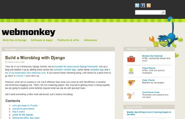 http://www.webmonkey.com/2010/02/build_a_microblog_with_django/