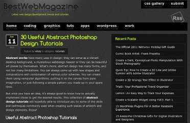 http://bestwebmagazine.com/2010/06/11/30-useful-abstract-photoshop-design-tutorials/