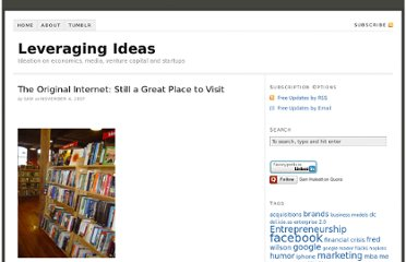 http://www.leveragingideas.com/2007/11/04/the-original-internet-still-a-great-place-to-visit/