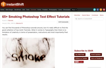 http://www.instantshift.com/2009/01/20/65-smoking-photoshop-text-effect-tutorials/