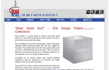 http://www.cocoanetics.com/2011/11/steal-good-stuff-ios-design-pattern-collections/
