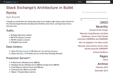 http://blog.serverfault.com/2011/02/11/stack-exchanges-architecture-in-bullet-points/