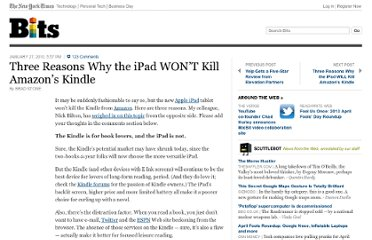 http://bits.blogs.nytimes.com/2010/01/27/three-reasons-the-ipad-wont-kill-amazons-kindle/