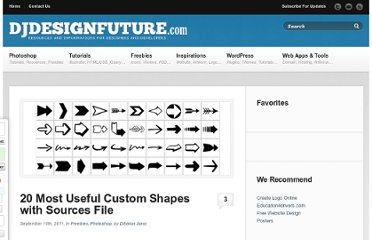 http://djdesignfuture.com/20-most-useful-custom-shapes-with-sources-file/