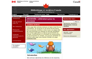 http://www.collectionscanada.gc.ca/litteraturejeunesse/index-f.html