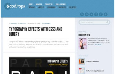 http://tympanus.net/codrops/2011/11/28/typography-effects-with-css3-and-jquery/