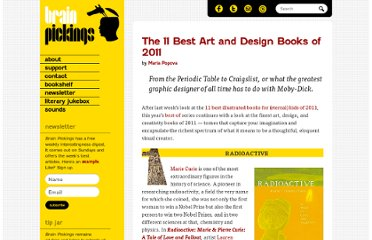 http://www.brainpickings.org/index.php/2011/11/28/best-art-design-books-2011/