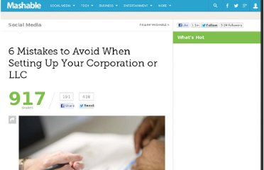 http://mashable.com/2011/11/28/llc-corp-mistakes/