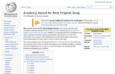 http://en.wikipedia.org/wiki/Academy_Award_for_Best_Original_Song