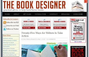 http://www.thebookdesigner.com/2011/06/twenty-five-ideas-for-writers/