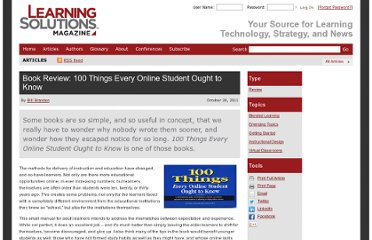 http://www.learningsolutionsmag.com/articles/779/book-review-100-things-every-online-student-ought-to-know