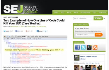http://www.searchenginejournal.com/two-examples-of-how-one-line-of-code-could-kill-your-seo-case-studies/37004/