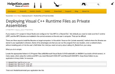 http://helgeklein.com/blog/2010/03/deploying-visual-c-runtime-files-as-private-assemblies/