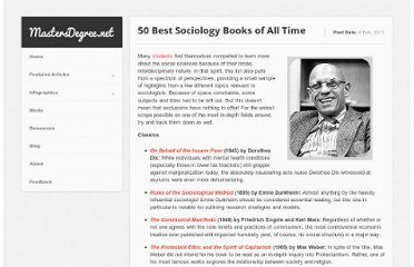 http://www.mastersdegree.net/blog/2011/50-best-sociology-books-of-all-time/