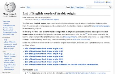 http://en.wikipedia.org/wiki/List_of_Arabic_loanwords_in_English