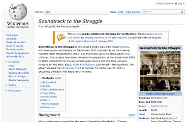http://en.wikipedia.org/wiki/Soundtrack_to_the_Struggle