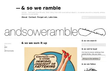 http://andsoweramble.net/2011/11/29/so-we-sum-it-up/