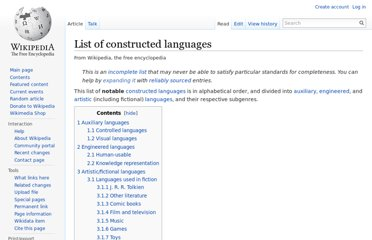 http://en.wikipedia.org/wiki/List_of_constructed_languages