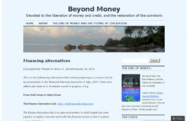 http://beyondmoney.net/financing-alternatives/