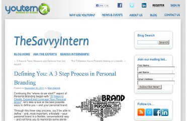 http://www.youtern.com/thesavvyintern/index.php/2011/11/30/defining-you-a-3-step-process-in-personal-branding/