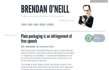 http://brendanoneill.co.uk/post/13303990443/plain-packaging-is-an-infringement-of-free-speech
