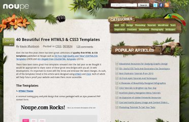 http://www.noupe.com/design/40-beautiful-free-html5-css3-templates.html
