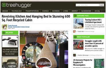 http://www.treehugger.com/sustainable-product-design/revolving-kitchen-and-hanging-bed-in-stunning-600-sq-foot-recycled-cabin.html