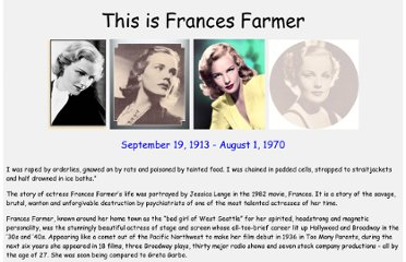 http://www.francesfarmersrevenge.com/stuff/frances/index.htm