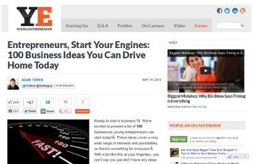 http://www.youngentrepreneur.com/blog/100-business-ideas-you-can-drive-home-today/