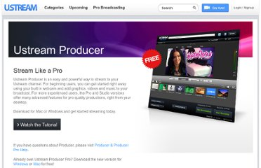 http://www.ustream.tv/producer#Screencasting