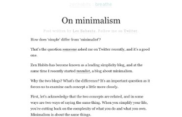 http://zenhabits.net/on-minimalism/