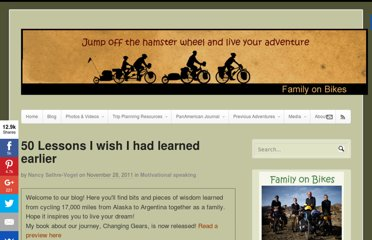 http://familyonbikes.org/blog/2011/11/50-lessons-i-wish-i-had-learned-earlier/