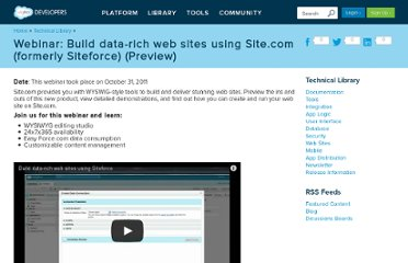 http://wiki.developerforce.com/page/Webinar:_Build_data-rich_web_sites_using_Siteforce?d=70130000000s4l3