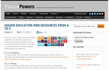http://patrickpowers.net/2011/09/higher-education-web-resources-from-a-to-z/