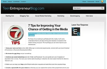 http://www.teenentrepreneurblog.com/seven-tips-for-improving-your-chance-of-getting-in-the-media/